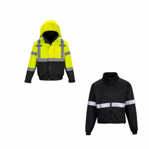 Hi vis Yellow black Waterproof 3 in 1 Bomber Jacket Ansi Class 3 Portwest Us365