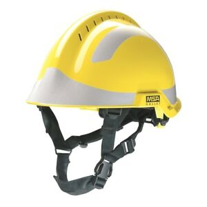 Msa F2 X trem Helmet Yellow C w Sticker Pack silver M1