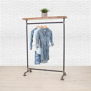 Industrial Pipe Clothing Rack With Cedar Wood Top Shelf William Robert s Vintage