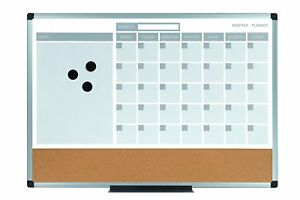 Mastervision Planning Board 3 in 1 Calendar Dry Erase 18 X 24 With Aluminum
