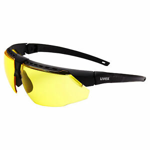 Uvex Avatar Safety Glasses With Amber Anti fog Lens Black Frame