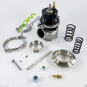 Black 60mm External Wastegate V band Clanps Inlet Outlet Flanges Kit New