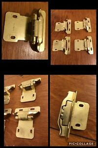 4 Cabinet Door Hinges Self Closing Brass Tone Vintage Retro Deco
