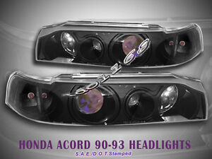 Fit For 90 91 92 93 Honda Accord Projector Headlights Black 1 Piece