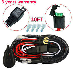10ft 12v 40a Led Work Fog Light Bar Wiring Harness Kit On Off Switch Relay Cable