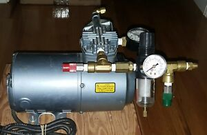 Gast Air Compressor Vacuum Pump 1 6hp 1laa 251 m100x W Regulator