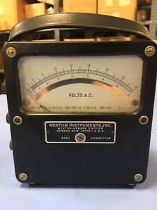 Vintage Weston Instruments Meter Volts A c