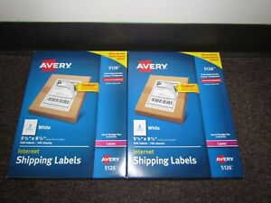 Lot Of 2xavery 5126 White Internet Shipping Labels 5 1 2x 8 1 2 2 X 100 Sheets