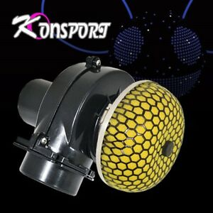 Car Mushroom Intake Filter 3 Air Electric Supercharger Turbo Boost Black Yellow
