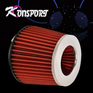 4 Inch Short Ram Cold Air Intake Turbo Dry Cone Perfomance Filter Chrome Red