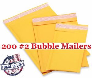 200 2 8 5x12 Kraft Bubble Mailers Envelopes Shipping Bags free Shipping