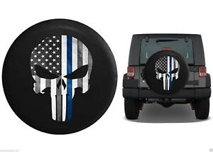 Thin Blue Line American Flag Punisher Skull Wheel Spare Tire Cover 32 New Usa