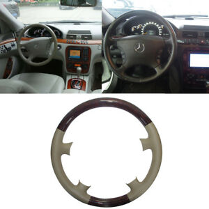 Tan Leather Wood Steering Wheel Cover F Mercedes Benz W220 S Class W215 C215 Cl