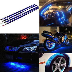 12v 4pcs 30cm 15 Led Car Motors Truck Flexible Strip Light Waterproof Blue
