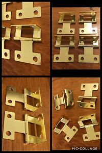 4 Door Hinges Half Wrap Brass Tone Surface Mount And Or Mortise Vintage Retro 2