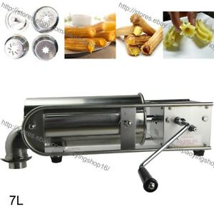7l Stainless Steel Manual Horizontal Spanish Churro Churrera Cake Maker Machine