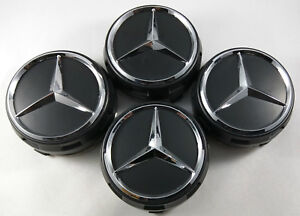 4x Pc Set Wheel Raised Center Caps Matte Black Hubcaps For Mercedes Benz 75mm