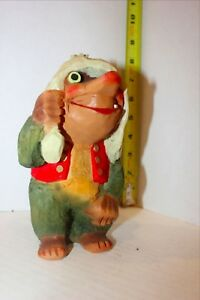 Vintage Henning Norway Hand Carved Wood Troll With Red Jacket Looking Up