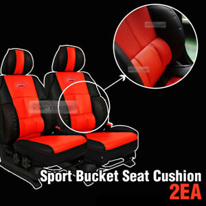 Inteiror Sports Bucket Seat Cushion Cover Red Leather 2ea For Universal All Car