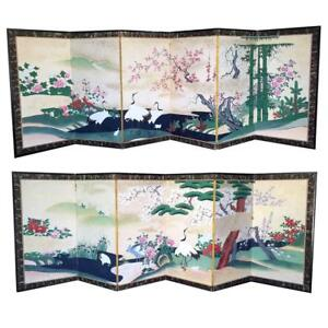 Pair Of Rare Antique Japanese Folding Screens With Provenance