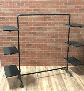 Industrial Pipe Clothing Rack With Wood Side Shelves