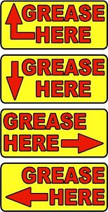 Grease Here arrow Label Sticker Decals 20 Decals Per Package Red Or Yellow