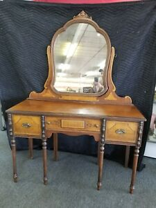 Antique Maple Bedroom Dressing Table Vanity Desk With Mirror Wow