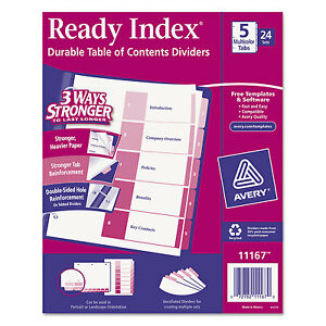 Avery Ready Index Customizable Table Of Contents Asst Dividers 5 tab Ltr 24 Sets
