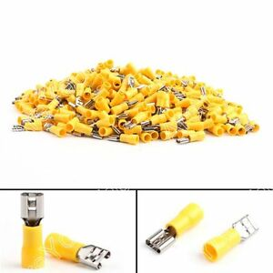 1000x Fdd5 5 250 Insulated Female Spade Connector Terminal 12 10awg Yellow B5