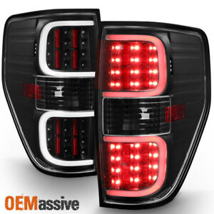 2009 2014 Ford F150 Pickup Black Led Tube Tail Lights Brake Lamps Replacement