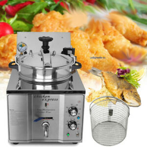 Commercial 2 4kw Stainless Electric Pressure Fryer 16l Chicken Fish Veg W Drain