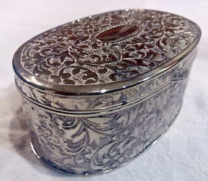 Ornate Victorian Style Oval Silver Plated Hindged Jewlery Trinket Box