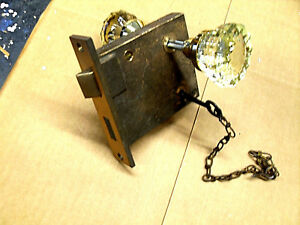 A Vintage Solid Brass Door Lock With Crystal Knobs And Key No Brand Markings