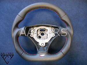Small 370mm Steering Wheel Audi A3 8p0 A4 B6 A6 S3 S4 S6 C5 Flat Bottom Leather