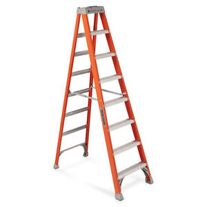 Louisville 8 Fiberglass Ia Step Ladder 25 1 2 x7 x98 Orange Fs1508