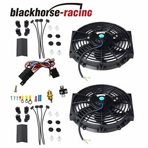 2x 10 Electric Radiator Cooling Fan W Thermostat Relay Mounting Kits Black