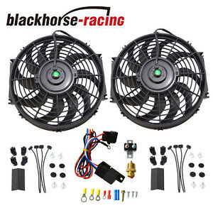 New Black 2x 12 Electric Cooling Fan Push In Radiator Fin Probe Thermostat Kit