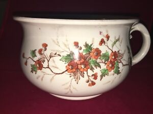 Vintage Decorative Porcelain Chamber Pot Floral Designs