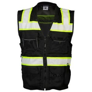 Ml Kishigo Reflective Utility Safety Vest With Pockets Black