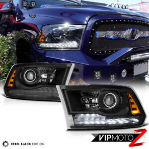 Vip Exclusive Rebel Black 13 18 Dodge Ram 1500 3500 Led Drl Projector Headlight