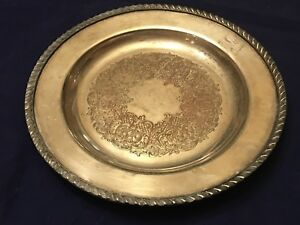 Antique Gorham Heavy Silver On Copper 719 Ornate Butler S Tray 9 5 Plate