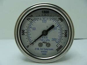 302lfw 254p 2 5 Glycerin Filled Ss 316 Internal Gauge 1 4 Npt Cbm 0 3000 Psi