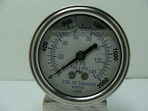 302lfw 254o 2 5 Glycerin Filled Ss 316 Internal Gauge 1 4 Npt Cbm 0 2000 Psi