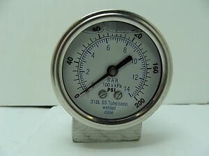 302lfw 254g 2 5 Glycerin Filled Ss 316 Internal Gauge 1 4 Npt Cbm 0 200 Psi