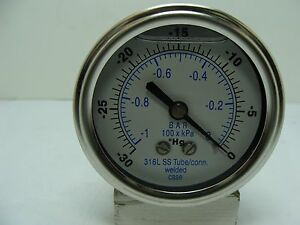 302lfw 254a 2 5 Glycerin Filled Ss 316 Internal Gauge 1 4 Npt Cbm 30 0hg Vac