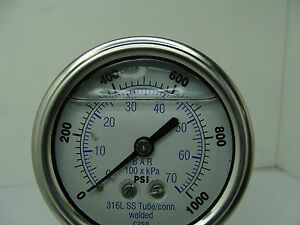 302lfw 254m 2 5 Glycerin Filled Ss 316 Internal Gauge 1 4 Npt Cbm 0 1000 Psi