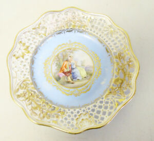 Antique 9 5 French Hand Painted Reticulated Open Work Porcelain Portrait Plate