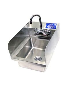 Heavy Duty Stainless Steel Wall Mouth Hand Sink 12 x12 With Side Splash Nsf