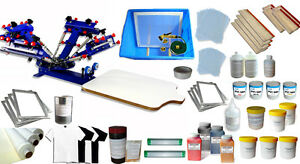 Silk Screen Printing Press Kit 4 Color 1 Station With Consumable Printing Tools