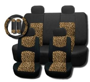 Cheetah Mesh Padded Seat Covers Steering Wheel Set 11pc bst114